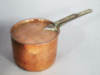 Antique Heavy Copper Daubiere Lidded Pan C 1850 Dovetail Joints & Copper Rivets