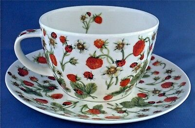 Dunoon Breakfast Cup & Saucer. Strawberry & Ladybirds. Dovedale Pattern. Boxed