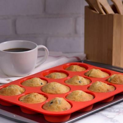 24 Cavity Mini Muffin Cupcake Cup Silicone Mould Soap Cookie Bakeware Tray CB