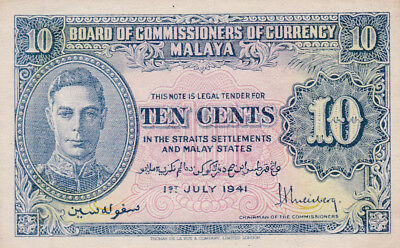 1941 Malaya and Straits Settlement Banknote 10 Cents P-8 aUNC