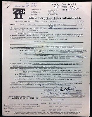 MOODY BLUES 1969 California Exposition Performance Contract Signed HERB COHEN