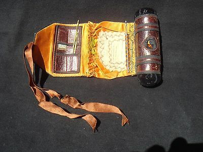 ~19th Century Sewing Kit ~ Leather,Silk,Velvet ~  w/Original Contents Inside ~