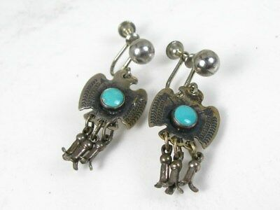 Vintage Sterling Silver Turquoise Southwestern Bird Screw Back Earrings 7.2g