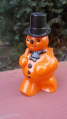 Vtg Hard Plastic Halloween Orange Snowman Black Hat  ROSBRO Candy