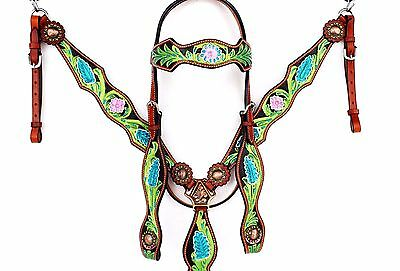 Green Black Floral Western Leather Horse Bridle Headstall Breastcollar Tack Set