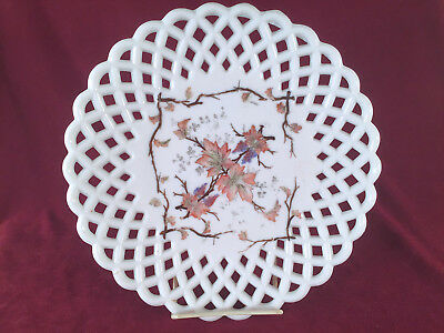 Challinor Taylor Closed Lattice Milk Glass Plate With Leaves and Twigs