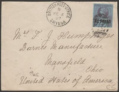 British Levant 1897 QV 40pa on 2½d Used on Cover Piece with BPO Smyrna Postmark