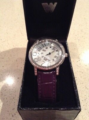 Butler and Wilson Purple Leather Strap Spinner Watch NEW