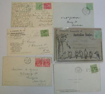 Australia 1921-36 KGV Postcard / Cover Selection Used - 10 Items