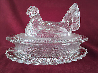 Turnbull England Clear Glass Chicken Hen On Oval Nest Covered Dish