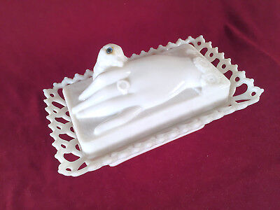 Westmoreland Milk Glass Hand and Dove Box Covered Dish