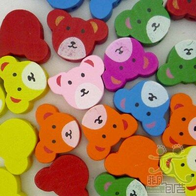 20 pcs round wood mixed colors bears beads 20x15MM craft/kids sewing 2 holes