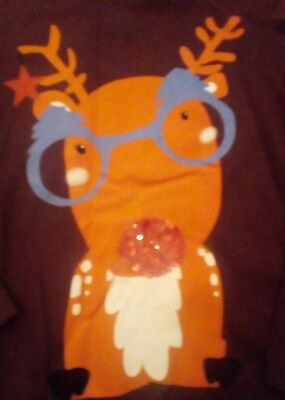Little Girls Long Sleeved Reindeer Christmas T-shirt Top 6 Years Next