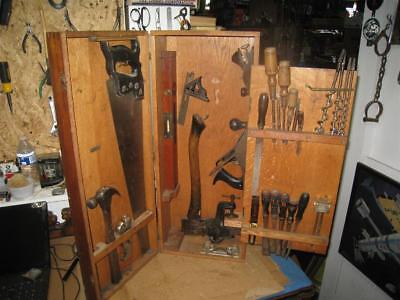 """Vintage Wooden Stanley Tool Chest #861 w/ 4 Square """"SW"""" Stamped Tools"""