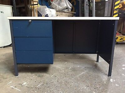 Vintage Metal Desk Office Table With Drawers To Restore Industrial Steel Retro
