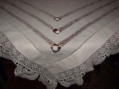 Vintage White Linen Tablecloth~Crochet Lace~Hand Embroidery~Drawnthread~TLC