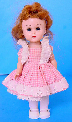 1950s VOGUE GINNY PAINTED LASH BENT KNEE WALKER DOLL w GINGER PINK PLAID OUTFIT