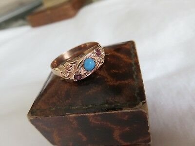 ANTIQUE Rare Victorian 9ct Rose Gold Turquoise Cabochon Ruby Trilogy Ring Sz R