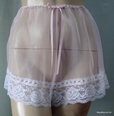 VINTAGE SILKY SEE-THROUGH PINK NYLON FRENCH KNICKERS PANTIES Med