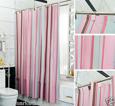 New Fashion PEVA Waterproof Environmental Bathroom Shower Curtain Pink Stripe