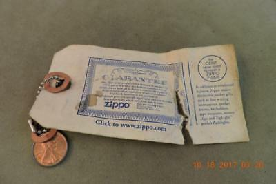 Encased Cent The Cent Never Spent To Repair A Zippo Lighter FOB Key Chain W/Card