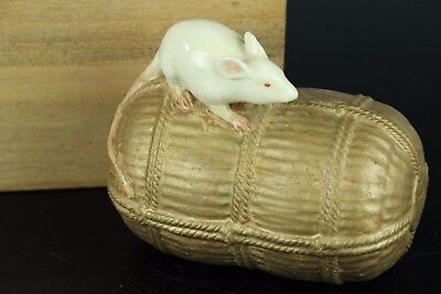 """Japanese Kyo Pottery""""kawaii Mouse On The Rice Bag""""statue Figure  W/signed Oct120"""