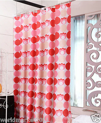 New Polyester Waterproof Environmental Bathroom Shower Curtain Red Circle