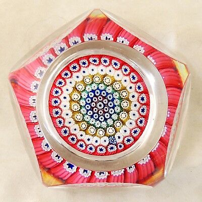 1972? Whitefriars Millefiori Close Packed Faceted Studio Art Glass Paperweight
