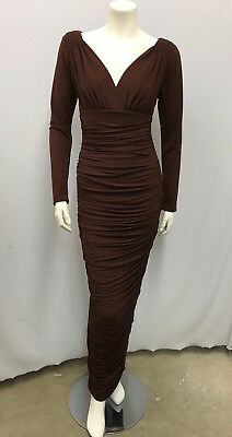 Vintage Norma Kamali Omo Dress Brown Long And Ruched Slinky Fits Small S