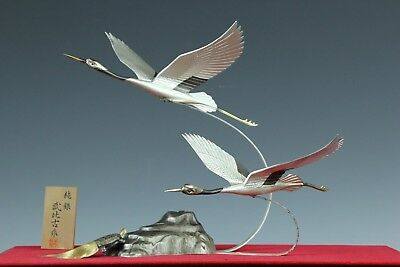 Japanese Sterling Silver Pair Crane&turtle Statue W/signed&grass Case Oct061