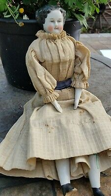 """Antique 13"""" lovely civil war era flat head china doll with period dress"""