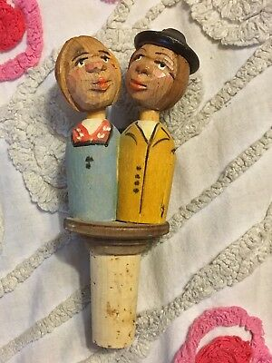 German Wooden Carved Wine Cork Animated Movable Kissing Couple Man Woman