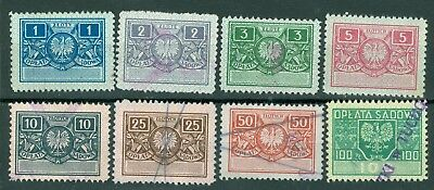 "Poland – 1945-47 Court Fee ""Oplata Sadowa"" - 1 zl to 100 zl - (8) Diff. Revenues"