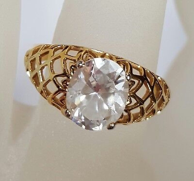 Jewelry Ring Sterling Silver Gold Inlay Clear Glass Rhinestone Christmas #3712