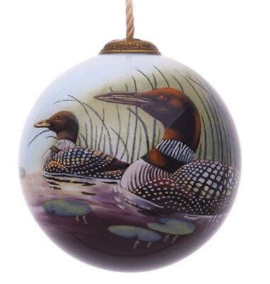 Loon Hand Painted Glass Ornament Artist Les Didier Inner Beauty Gift Box New