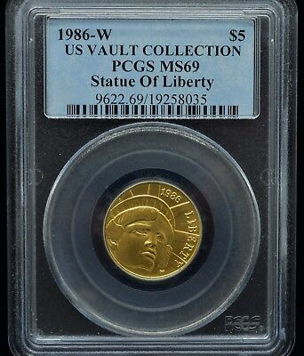 1986-W Us Vault Collection Statue Of Liberty Pcgs Ms69 $5 Gold Coin