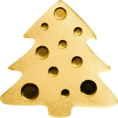Palau $1 Golden Christmas Tree 0.5 g Pure .9999 Gold Coin Special Shape