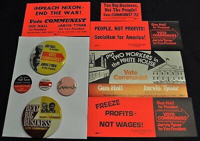 5 Vintage 1960s-70s CPUSA Political Pinback Buttons &5 CPUSA Stickers Hall Tyner