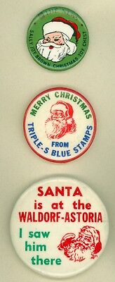 3 Vintage 1960s-70s New York Santa Claus Christmas Advertising Pinback Buttons