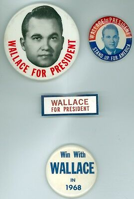 4 Vintage 1968 President George Wallace Political Campaign Pinback Buttons