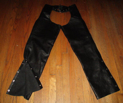 SILVER BIKE Black Leather Motorcycle Chaps Unisex Size S