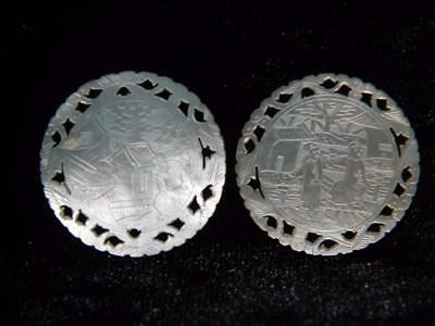 2 Antique Chinese Cantonese Fretted Pierced Circular Mother Of Pearl Game Chips