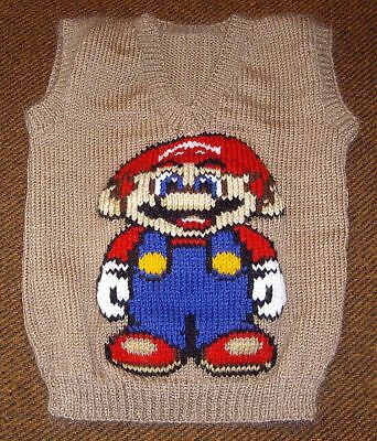 Mario  Vest   New Hand Knitted Size 4/5