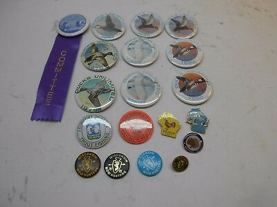 group of pin back pins 10 D.U. 4 WI bow hunters 5 other WI. pins