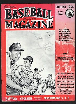 August 1954 Baseball Magazine with Mickey Mantle cover