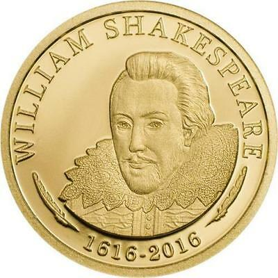 Cook Islands 2016 5$ William Shakespeare Gold 0,5g 9999 Gold Proof Coin