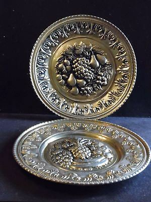 "2 Vintage Embossed Brass Fruit Wall Plates England 11 1/2""D"