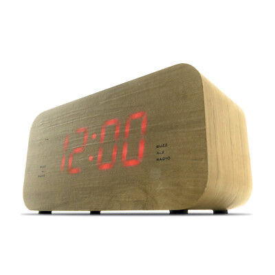 FM Radio Alarm Clock Wood Style LED Dimmer Function Snooze Sleep Timer AUX-In