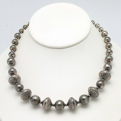 """17"""" Sterling Silver Southwestern Style Graduated Bench Bead Necklace 45.4 Grams"""