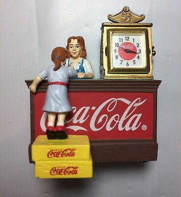 Coca Cola Clock Figurine 2003 Old Fashion Store Counter with People Miniature